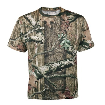 Men Outdoor Breathable Summer Hunting T-shirt Mens Bionic Camouflage Shirt Short Sleeve Quick Dry Tactical Large Size 3XL