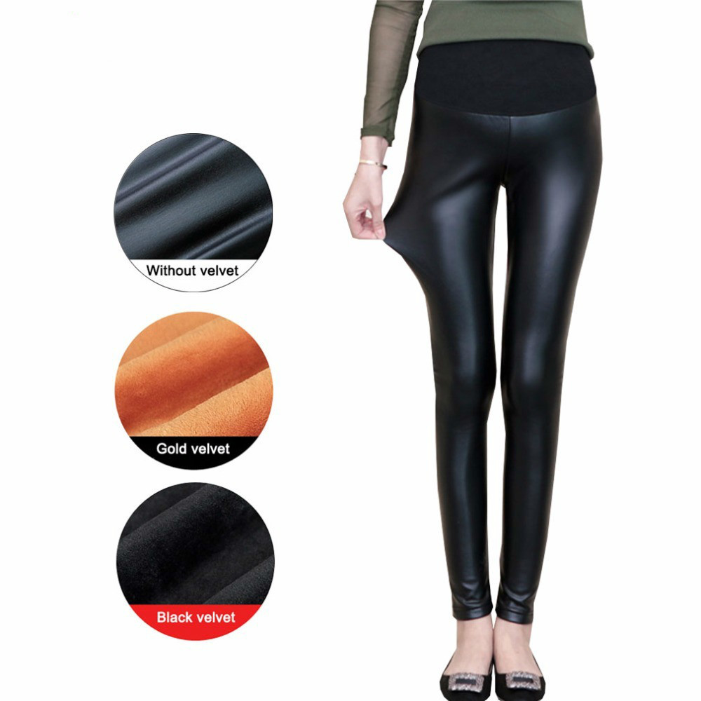 Fashion PU Leather Winter Warm Maternity Pants for Pregnant Women High Waist Black Pregnancy Clothes Pregnant Trousers 2018 New trendy colorful printed high waist wide leg pants for women