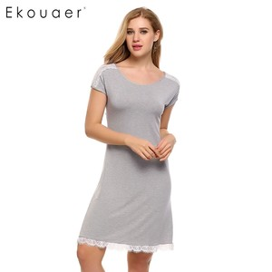 Image 3 - Ekouaer Lace Patchwork Nightgown Women Fashion O Neck Cap Short Sleeve Sleepwear Sexy Hollow Out Home Dress Casual Nightdress