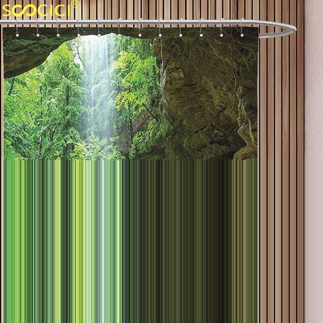Decorative Shower Curtain Nature Canyon Michigan Caves Memorial Falls In The Forest Eco Foliage Picture Army