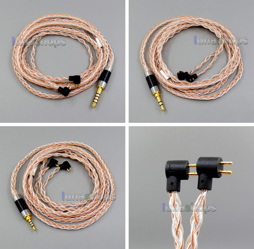 100ohm 3.5mm 2.5mm 4.4mm TRRS Balanced 8 Core OCC Silver Mixed Earphone Cable For ER4B ER4PT ER4S ER6I ER4 LN006049 pure pcocc earphone cable pep insulated for etymotic er4b er4pt er4s er6i er4 ln004845