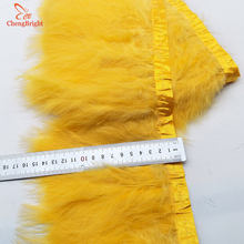 ChengBright New 1Yards Turkey Feathers Trim Cloth Sideband Chicken Pheasant Feather Trims Clothing Wedding Feather Ribbon A(China)