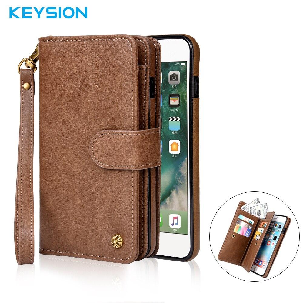 imágenes para Keysion Lujo Del Cuero Genuino para el iphone 6 6 S 6 P 6 SPlus Multi Funcional 2 en 1 Soporte de la Carpeta de Cuero Caso Del Teléfono Del Tirón cubierta