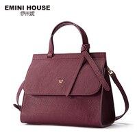 EMINI HOUSE Bow Tie Handbag Genuine Leather Flap Bag Women Messenger Bags Luxury Handbags Women Bags
