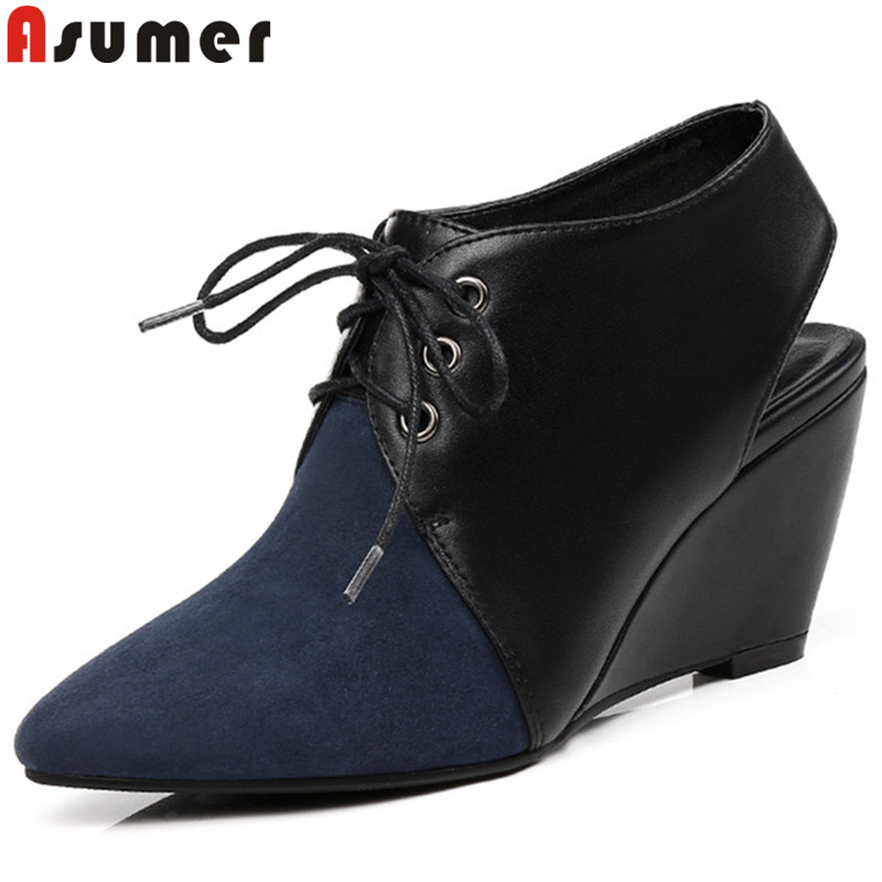 ASUMER big size 33 43 fashion shoes woman pointed toe lace up wedges pumps women shoes