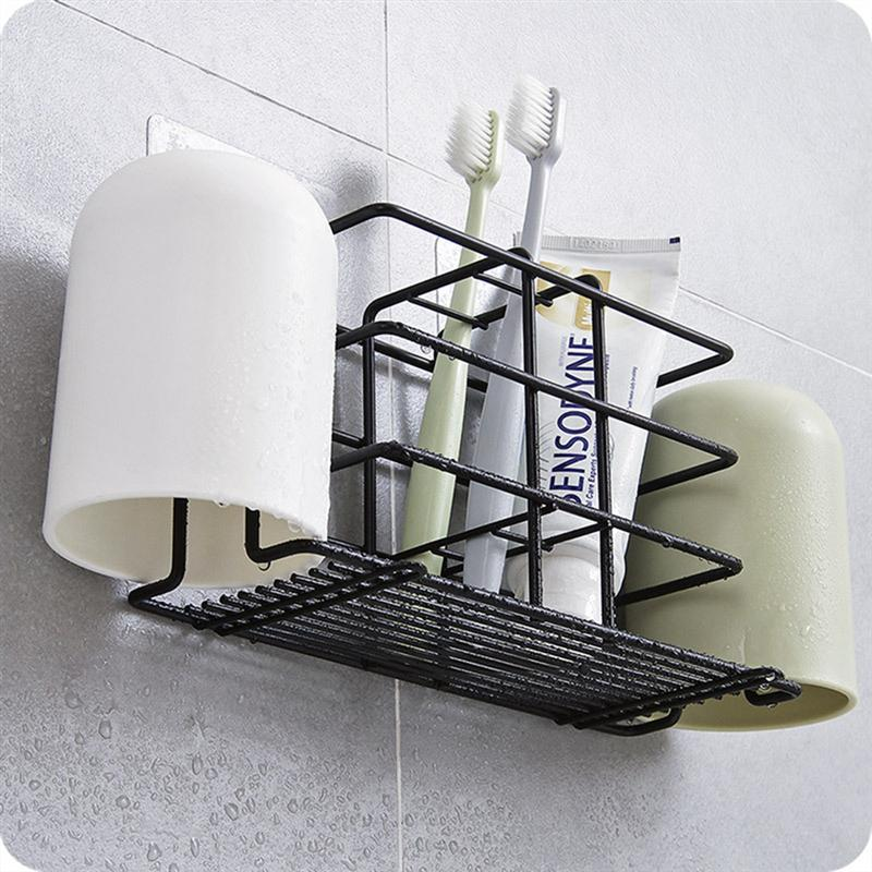 Image 5 - No Drilling Toothpaste Holder Wall Mounted Toothbrush Rack Durable Household Holder Storage Bathroom Organizer Accessories-in Toothbrush & Toothpaste Holders from Home & Garden