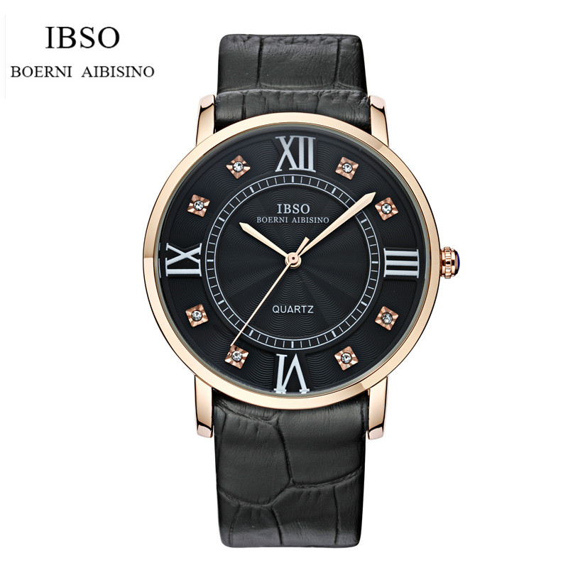IBSO Brand Fashion Lover Wrist Watch Luxury Genuine Leather Crystal Dial Lover Analog Quartz Watch Relogio IB05 2015 selling brand ibso boerni aibisino unisex ultra thin round dial analog wrist watch with waterproof
