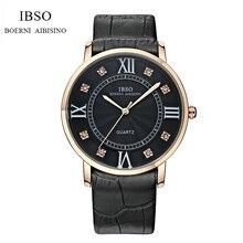 IBSO Marca Amante de La Moda Reloj de Pulsera de Lujo de Cuero Genuino Cristal Dial reloj Del Amante de Cuarzo Analógico Relogio IB05