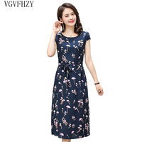 3622483e3 2019 Summer Middle Aged Mother Dress Loose Comfortable Ccotton Print Round  Neck Short Sleeve Plus Size