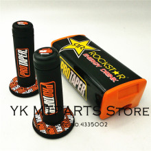 Orange Square Handlebar Pad Handle Bar Pad+grip  Fat fit 1-1/8 28mm handlebar for CRF YZF KLX KTM RMZ