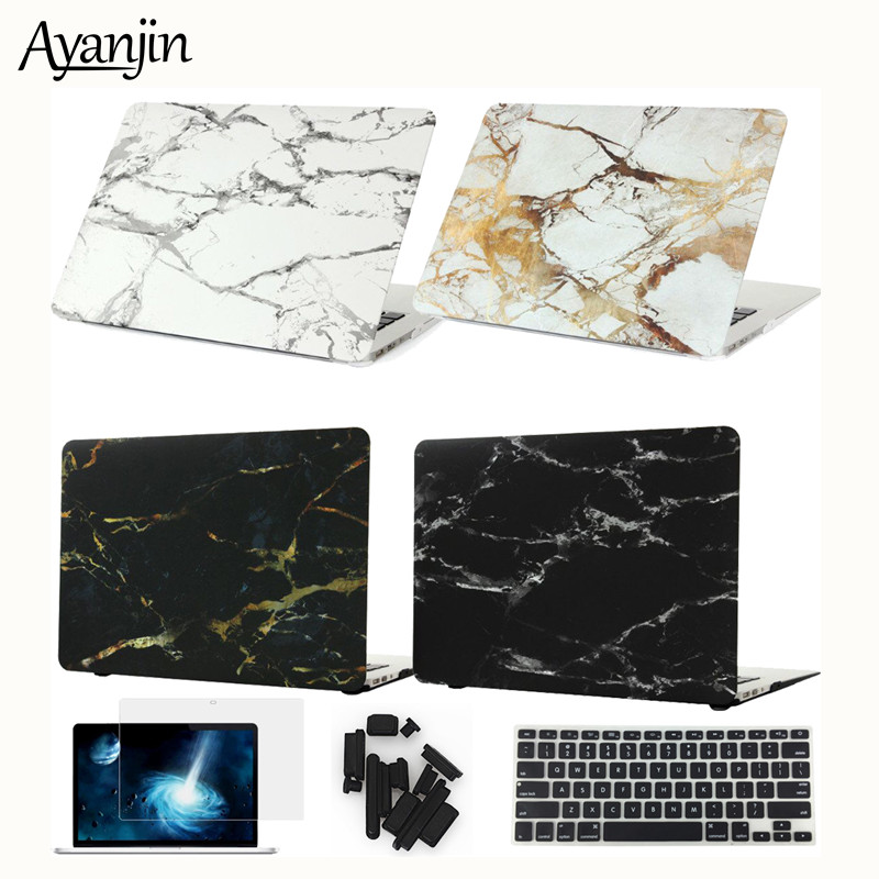 New Marble Texture Case For Macbook Pro 13 15.4 For Apple Macbook Air 13 Pro Retina 11 12 Laptop Cove With Touch Bar A1989 A1990