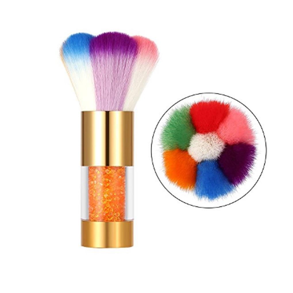 Nail Art Brush Cleaner: Nail Art Dust Brush Remover Cleaner Rainbow Hair For