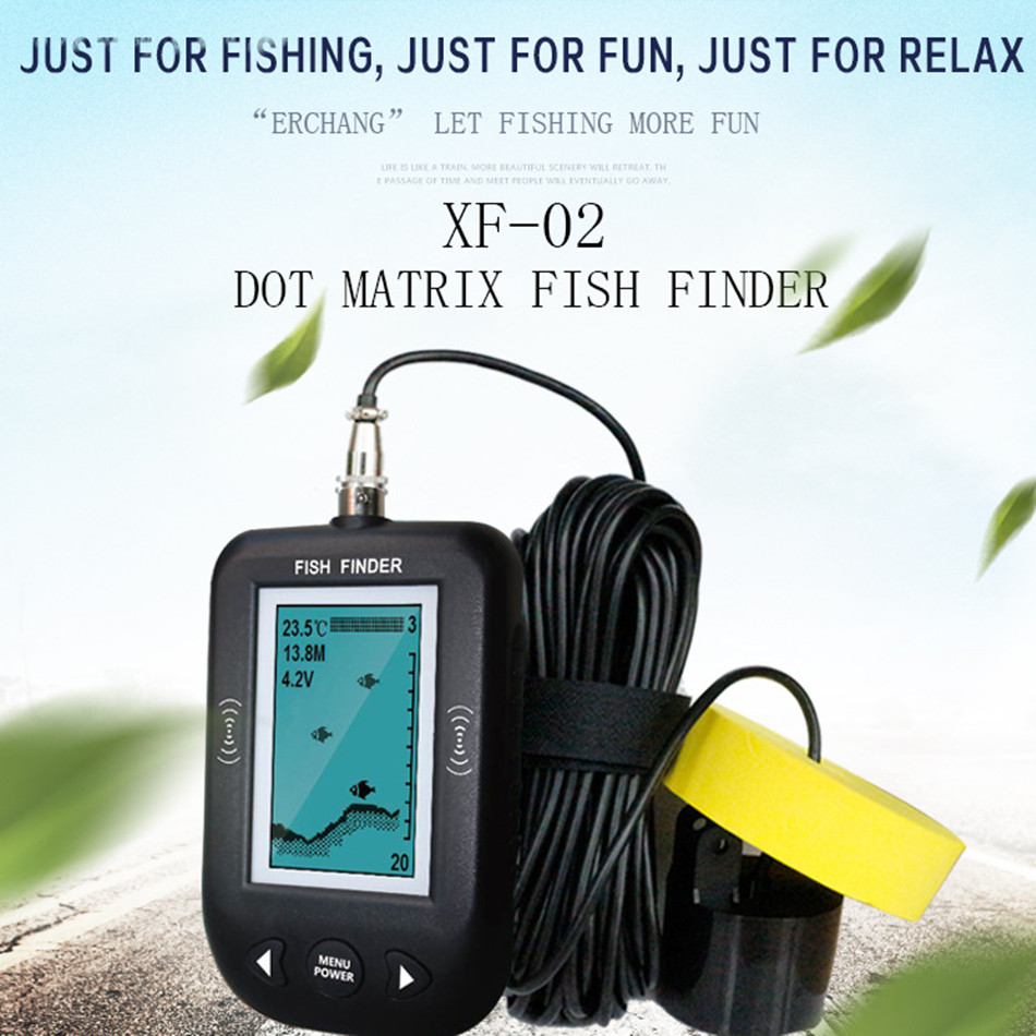 XF-02 Portable Fish Finder 45 Degrees 100 M Depth 200 kHz With Fishing Wire Alarm Transducer For Sea Lake цены