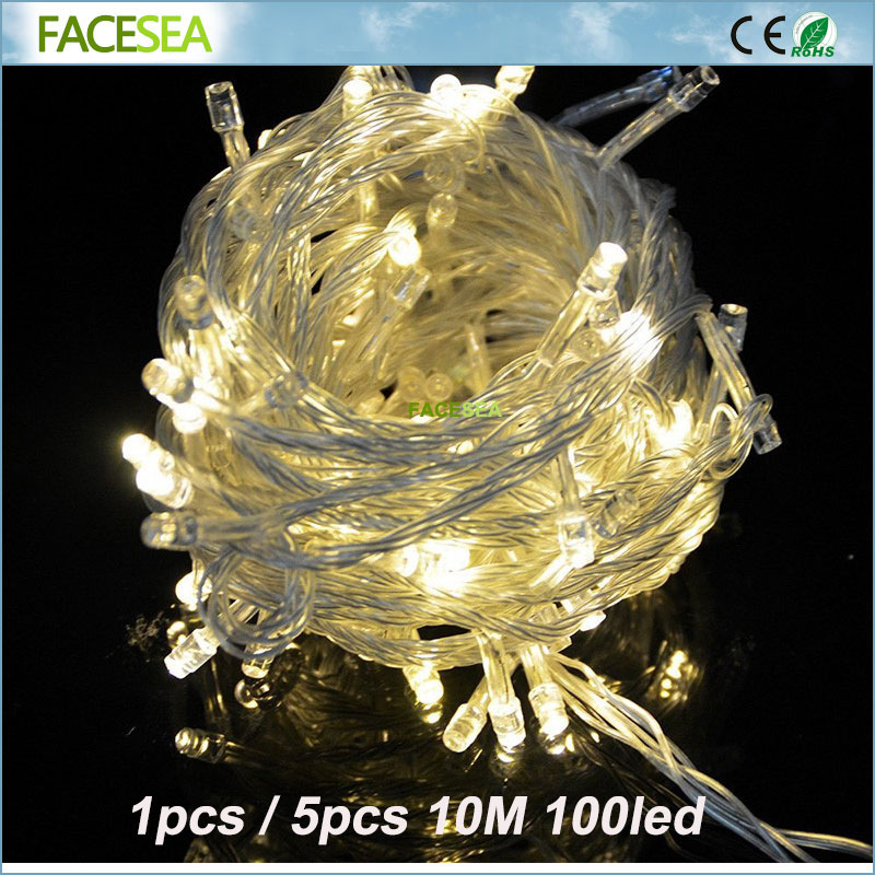 1pcs 5pcs 10m/100leds Led String Christmas Lights With 8 Modes Christmas tree decorations for Home / Holiday / Party / Wedding