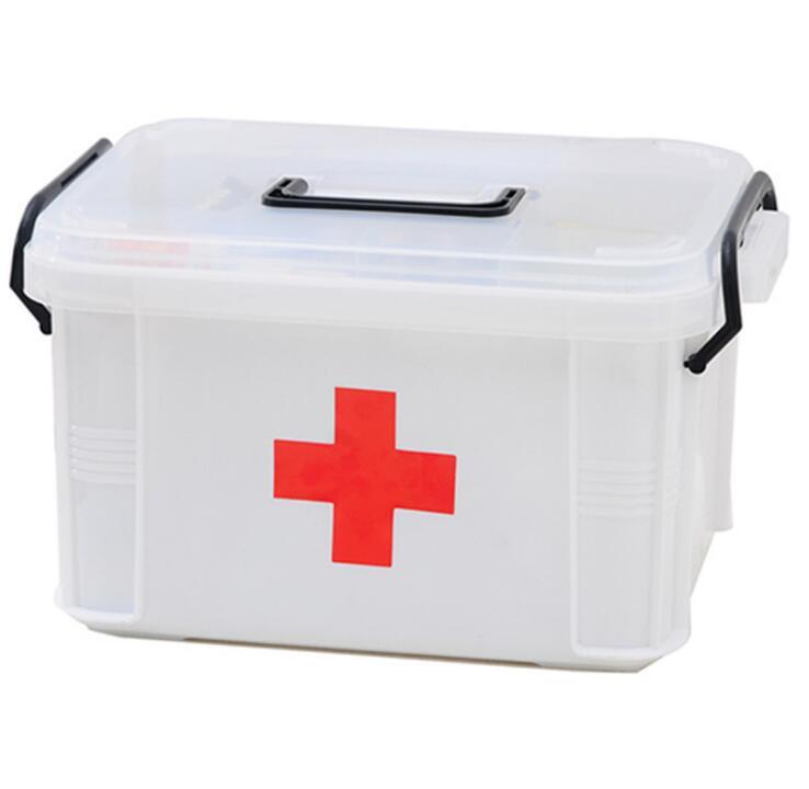 Family with handle extra large medicine box Multi-layer emergency storage box health storage box household plastic medicine box multi function aluminum plastic storage box silver