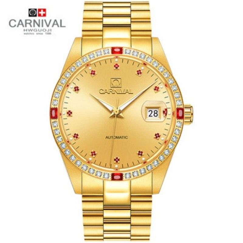Carnival diamond gold military watch men top luxury brand full steel clock men watches waterproof saat