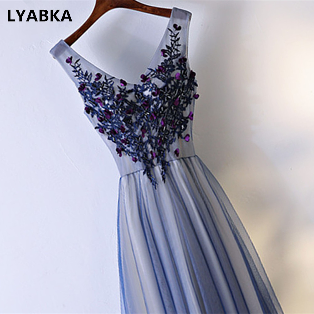 2019 Hot Sale Evening Dress A line Robe De Soire Abendkleider Sexy V Neck Lace up