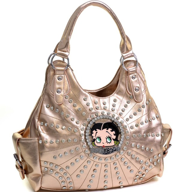 Betty Boop Rhinestone And Multi Studs Shoulder Bag Designer Inspired High Quality Women Leather Handbags With