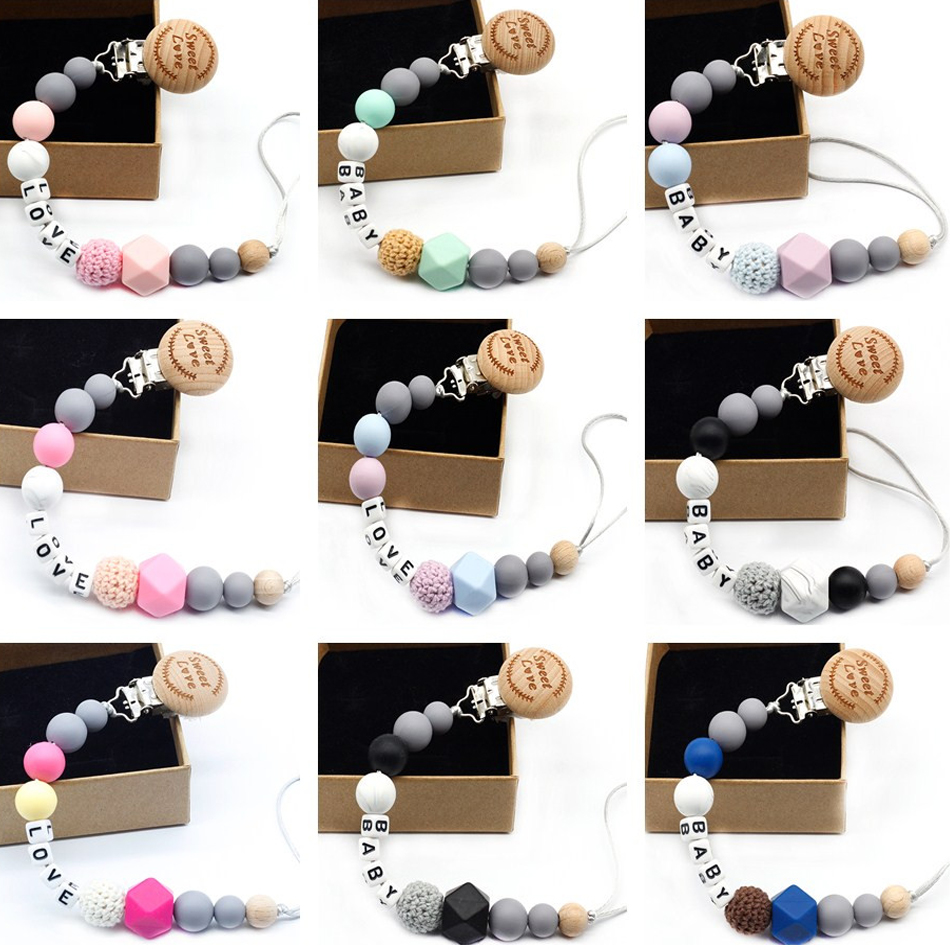 New 9 Styles DIY Holder Personalized Name Silicone Baby Pacifier Clip Pacifier Chain Teething Pacifier Chew Toy Baby Dummy Clips
