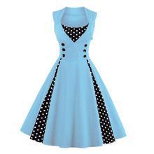 Oxiuly Womens Vintage Polka Dots Patchwork 50s 60s 70s Retro Wear Rockabilly Swing Wedding Party A-line Dresses Robe Femme