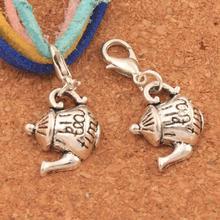 Tea Time Teapot Lobster Claw Clasp Charm Beads 30.8x14.6mm 100PCS Tibetan silver Jewelry DIY C397 triangular arrow lobster claw clasp charm beads 24 4x4 6mm 200pcs tibetan silver jewelry diy c462