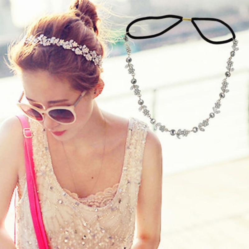LNRRABC  Lady Women Girls Rhinestones Crystal Flower Elastic Headband Hair Accessories  Jewelry diademas para mujer turbante
