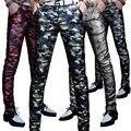 Camuflagem de inverno dos homens novos de couro PU calças calças pés Magros calças da motocicleta personalizado calças de couro dos homens da tendência YF145