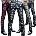 Winter new men's camouflage PU leather pants Slim feet trousers personalized motorcycle trend men's leather trousers YF145