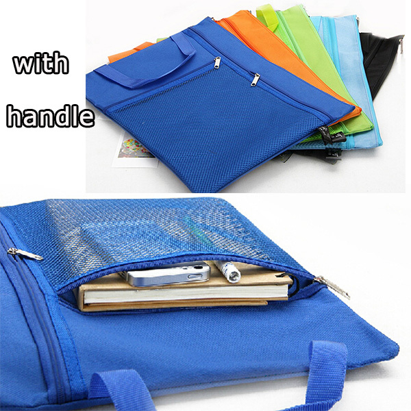 school students functional a4 file bag zipper magazine pouch with handle job files bag clear wood handle bag with sequin pouch