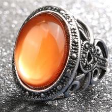 Anillos de joyas de plata antigua Bohemia para mujer, para regalo, joyería Vintage, piedra de resina naranja, anillos étnicos turcos para mujer
