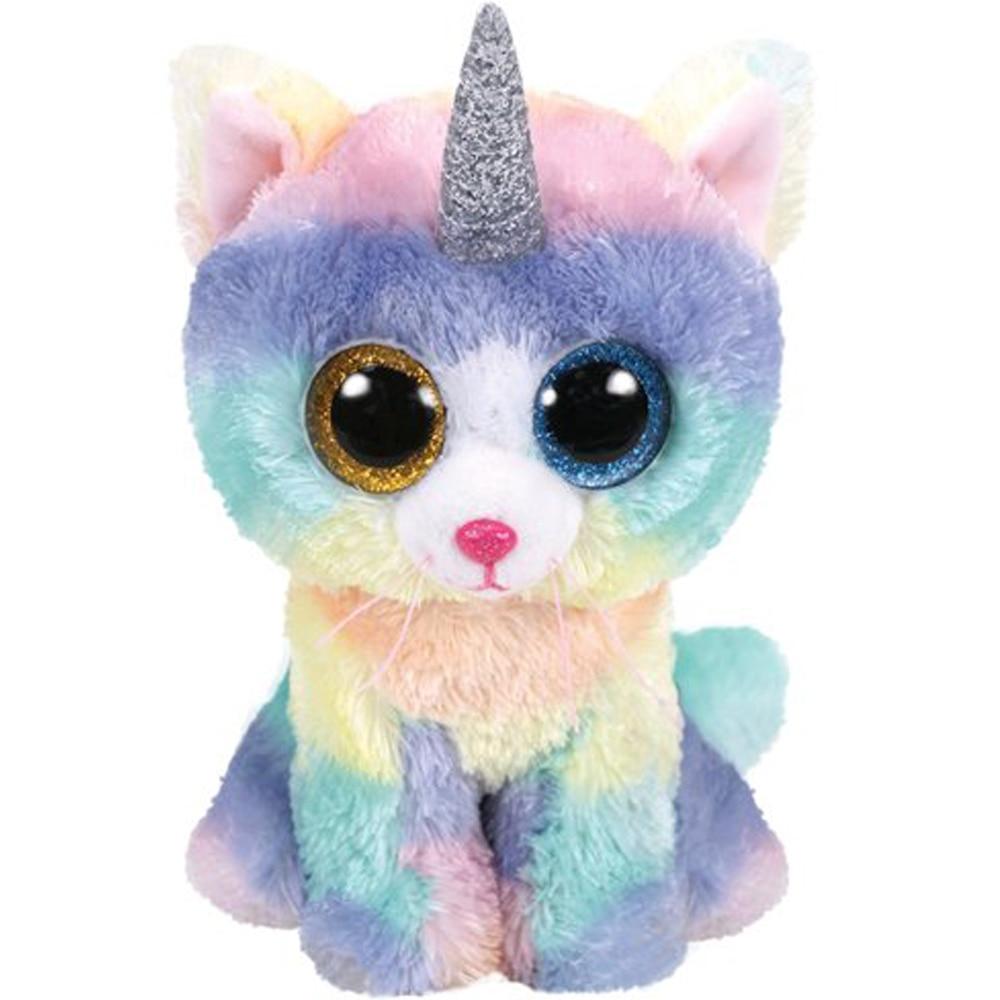 цена на Ty Beanie Boos 6&15cm Heather the Cat Unicorn Sheep bat Plush Regular Soft Big-eyed Stuffed Animal Kitty Collection Doll Toy
