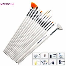 15 Pcs Professional Gel Nail Brushes 15 Sizes Nail Art Acrylic Brush Pens Wooden Handle Dotting Drawing Paint Brush Set #TPD-06# 12 color nail art paint pens set 12 pcs