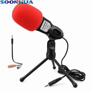 SOONHUA Hot moda 3 5mm mikrofon biurkowy profesjonalne studio mikrofon nadawanie mikrofon kondensujący z Mini statywem na PC tanie i dobre opinie Mikrofon pojemnościowy Mikrofon komputerowy Pojedyncze Mikrofon Blat Przewodowy Dookólna SOONHUA SH-666 1 5V 50Hz -16KHz