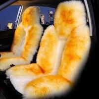 GLCC Car Front Fur Seat Cover Sheepskin Cushion Mat Long Natural Wool Plush 54*13cm Winter Warm Rug Auto Interior Accessories