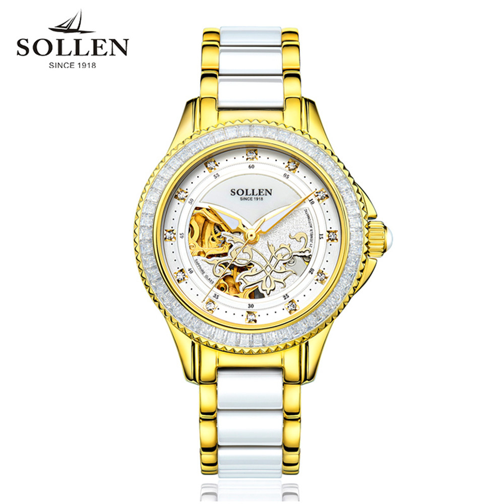 2017 SOLLEN Luxury Crystal Sapphire Ladies Ceramic Band Automatic Mechanical Watch Waterproof Wristwatches Relogio Feminino 2017 SOLLEN Luxury Crystal Sapphire Ladies Ceramic Band Automatic Mechanical Watch Waterproof Wristwatches Relogio Feminino