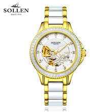 2017 SOLLEN Luxury Crystal Sapphire Ladies Ceramic Band Automatic Mechanical Watch Waterproof Wristwatches Relogio Feminino