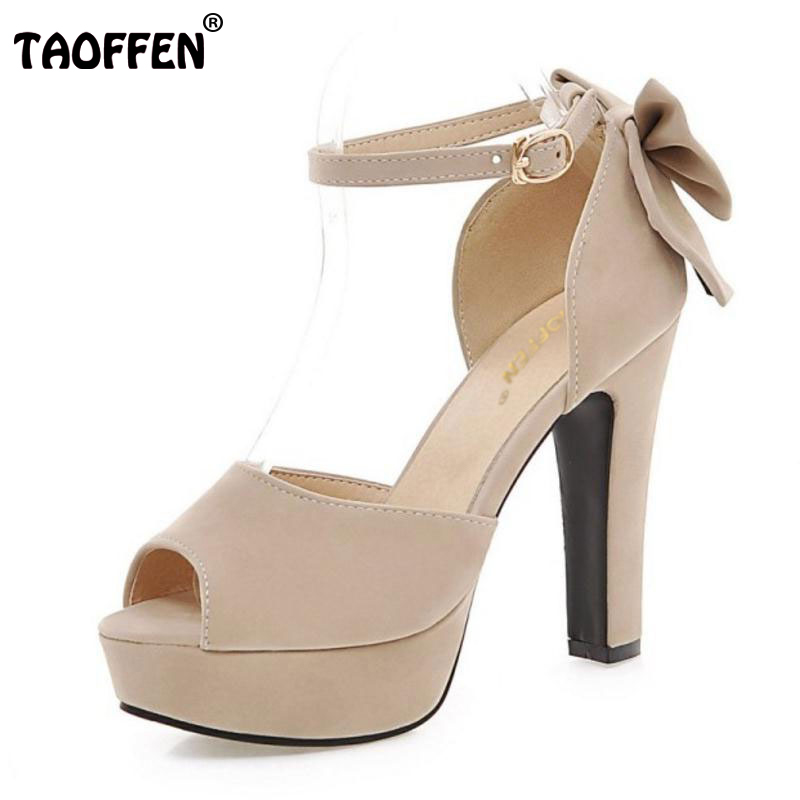 TAOFFEN women peep toe ankle strap sweet thick high heel sandals platform suede leather lady woman shoes plus size 31-47 PA00135 summer women nubuck leather thin high heel red bottom peep toe ankle wrap color matching sandals shoes plus size 30 45 sxq0529