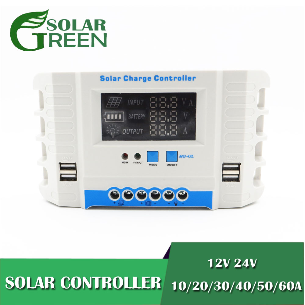 60 50 40 30 20 10 A AMPS 24V 12V Auto Solar Panel Battery Charge Controller PWM LCD Display Solar Collector Regulator USB two60 50 40 30 20 10 A AMPS 24V 12V Auto Solar Panel Battery Charge Controller PWM LCD Display Solar Collector Regulator USB two