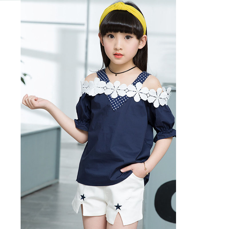 lace crochet flowers girls clothing sets 10 14 8 6 12 11 years summer 2017 clothing girls clothes sets kids blouses shorts sets 2018 new big girls clothing sets summer t shirts tops shorts suits 2 pieces kids clothes baby clothing sets 6 8 10 12 14 year