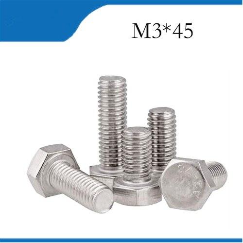 15pcs M3 45mm M3*45mm 304 Stainless Steel SS DIN933 Full Thread HEX Hexagon Head Screw m3 screws 20pcs m3 6 m3 x 6mm aluminum anodized hex socket button head screw