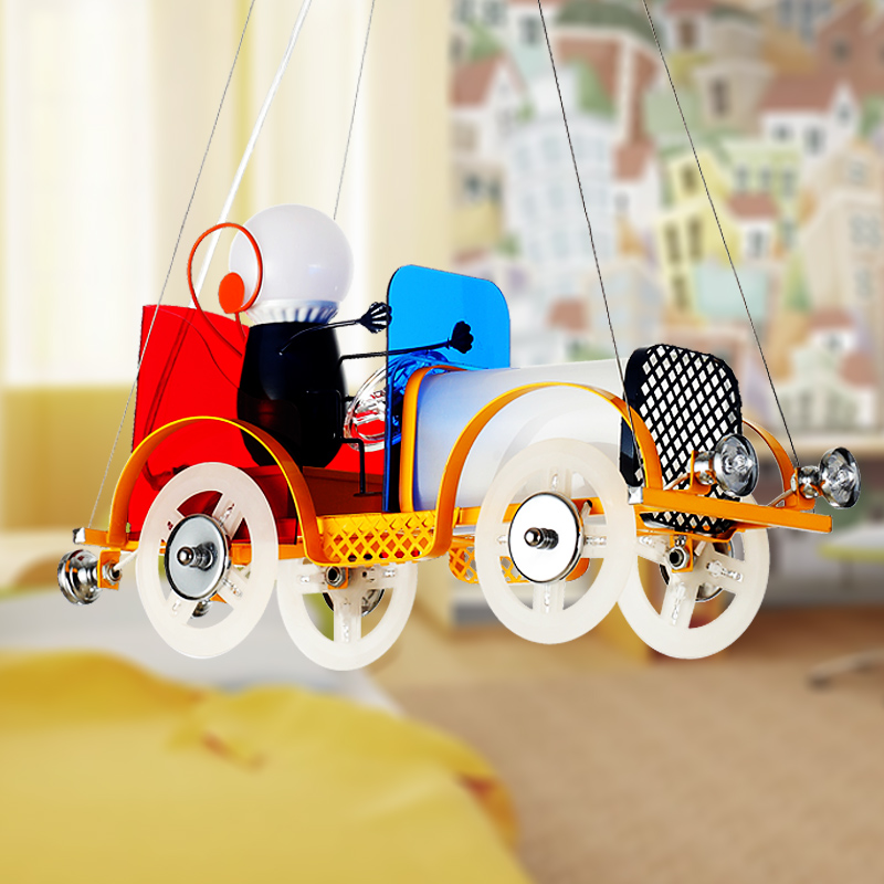 Enfants jouet moderne créatif dessin animé enfants voiture lampe à LED matériel qualité métal verre droplight enfants chambre étude ET44