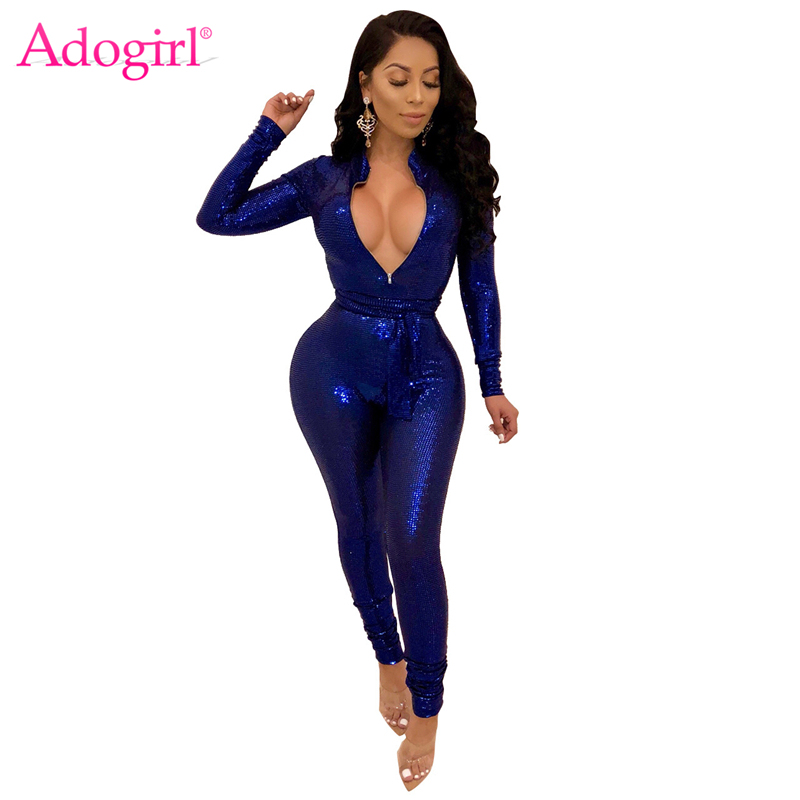 Adogirl Sequins Zipper V Neck Bandage Jumpsuit with Belt Women Sexy Long Sleeve Romper Skinny Night Club Party Overalls Outfits