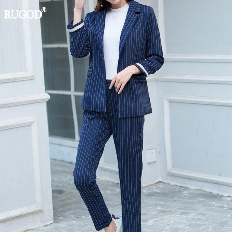 Bleu Et Mince Marine 2018 D'affaires Rugod Blazer Ol Piste Costumes champagne Femmes Automne Feminino Long Pantalon Nouveau Élégant Rayé T1W1na6dz