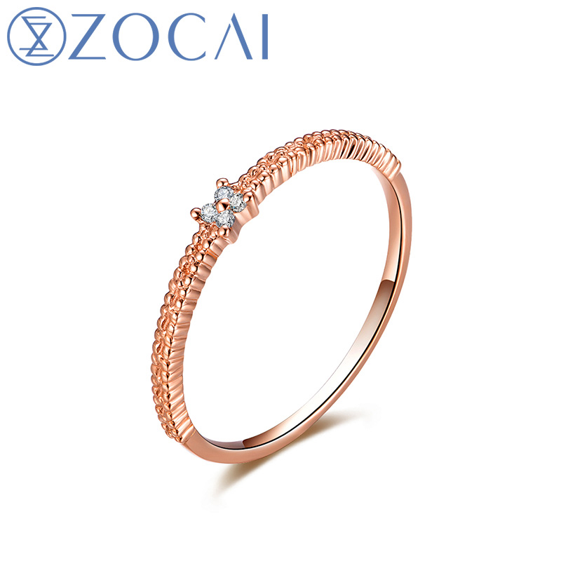 ZOCAI 100% Genuine 18K Rose Gold (Au750) Real 0.01 CT I J / SI Round Cut Diamond Women Ring Ruby and Sapphire available JBW00912