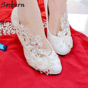 eaf69002c Sorbern элегантные кружева на каблуке; сезон весна-лето серебряными  кристаллами Аппликации жемчужные бусы, свадебная обувь, туфли на каблуке с.