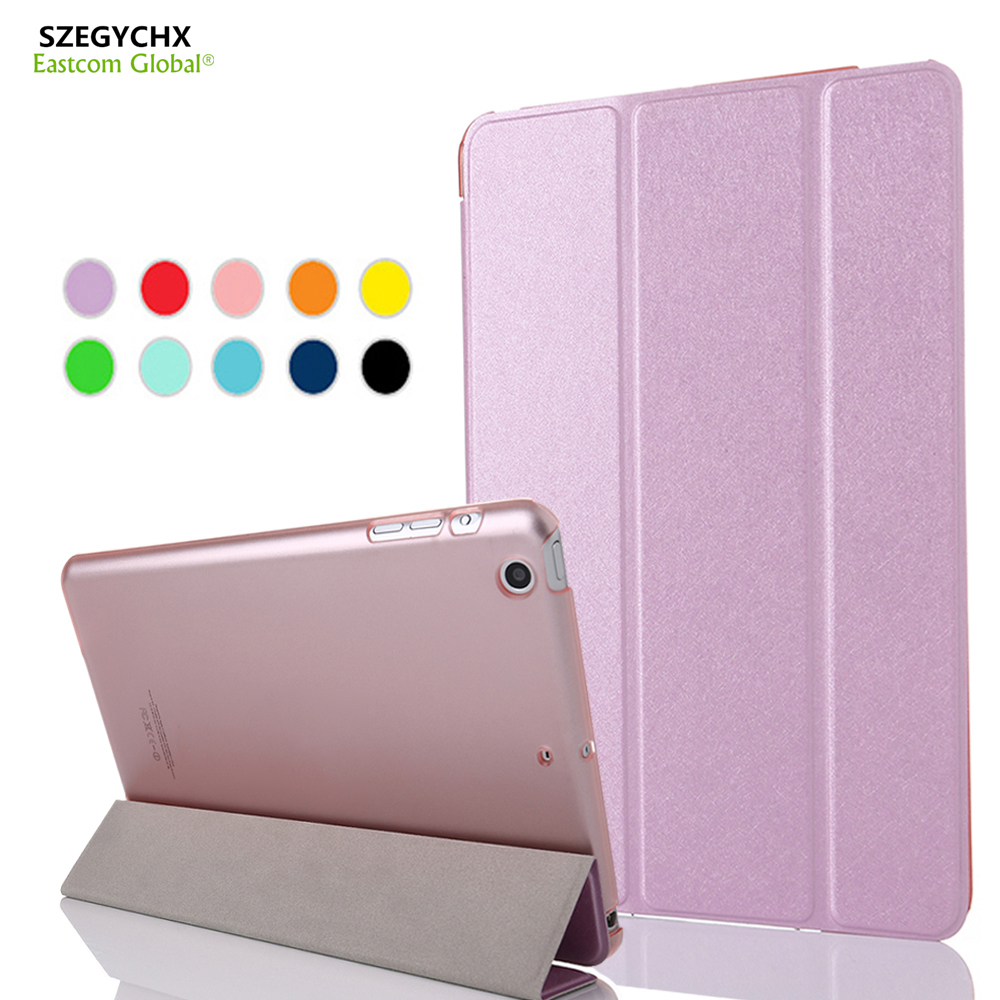 SZEGYCHX Tablet Case For iPad Air 1 A1474 A1475 A1476 Color PU Transparent Back Ultra Slim Light Smart Cover Sleep Wake function for ipad mini4 cover high quality soft tpu rubber back case for ipad mini 4 silicone back cover semi transparent case shell skin