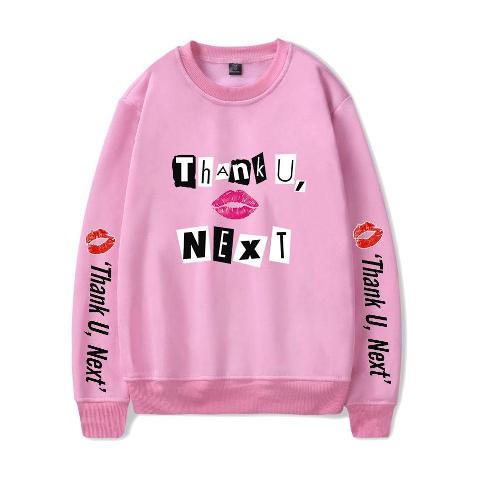 b4fbf8f5b Ariana Grande thank U next Hoodies/O-neck Sweatshirt 2019 New Album Soft  Pink