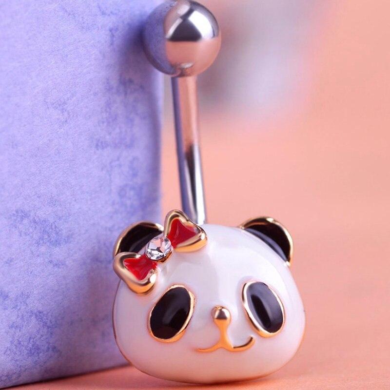 Blucome Cool Enamel Panda Body Feminino Umbigo Body Jewelry Navel Piercing Belly Button Ring Navel Piercings Bijoux For Woman