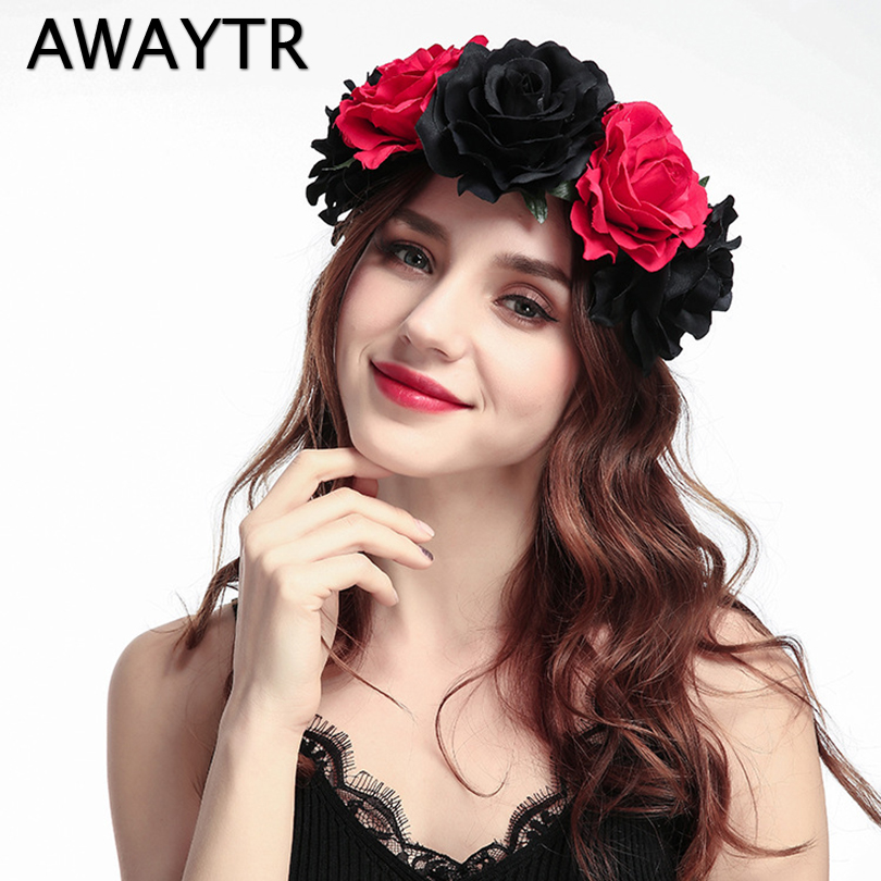 AWAYTR Rose Flower Headband Black Red Floral Head Band Wedding Crown Spring Summer Beach Garland Bridal Headwear
