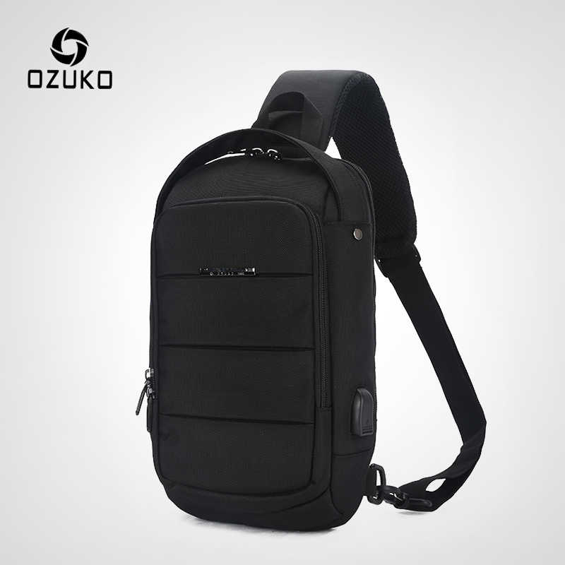 OZUKO Casual Men's Chest Pack Waterproof Crossbody Bags Male USB Charging Shoulder Bag Large Capacity Oxford Messenger Bag 2019
